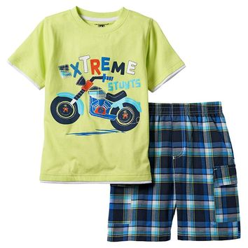 Kids Headquarters Mock-Layer Tee & Plaid Shorts Set - Boys