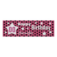 ANY YEAR Birthday Star Banner PINK Polka Dots 4 Poster