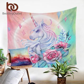 BeddingOutlet Unicorn and Rose Tapestry Wall Hanging Girly Floral Decorative Wall Art Cartoon Bedspreads Pink Blue Sheet 150x200