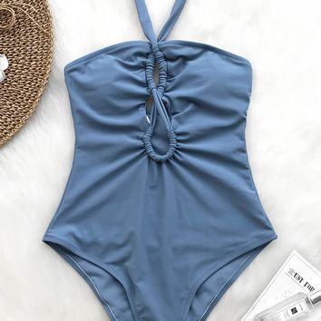 Cupshe Water Wave Halter One-piece Swimsuit