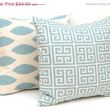 SALE Pillow Throw Pillow Covers Blue on Natural Greek Key and Ikat Decorative Pillow Covers 18 x 18 Inches Pair of Two