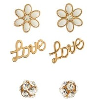 Gold Flower & Love Stud Earrings - 3 Pack by Charlotte Russe