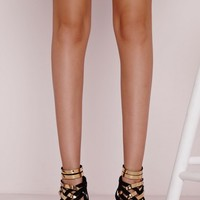 Missguided - Asymmetric Gold Detail Heeled Sandals Black