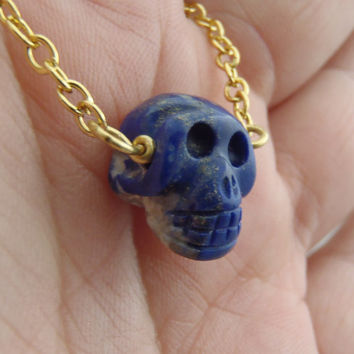 Carved Blue Lapis Lazuli Stone Skull Necklace Gold Chain Bead Necklace Fall Necklace Carved Stone Skull Blue Skull Jewelry FREE SHIPPING