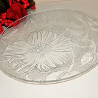 Clear Pressed Glass Serving Platter Plate Tray Floral Tableware Vintage Casual Elegant Dinner Dish