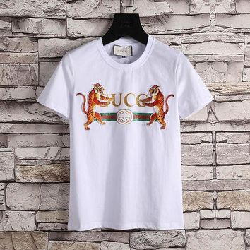 DCCK Gucci Women or Men Fashion Casual Pattern Print Shirt Top Tee