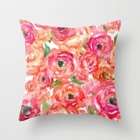 Bed of Roses Throw Pillow by Allison Reich