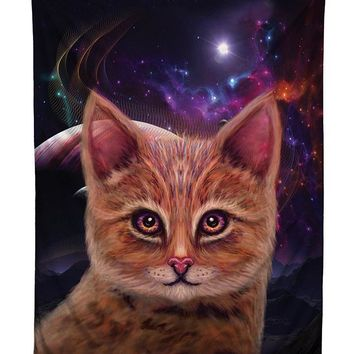 Space Cat Kitty Galaxy Tapestry