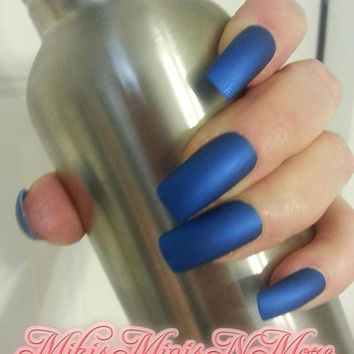 Stunning Sapphire Jewel-tone Matte Press on Nails