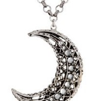 "Azaara ""Crystal"" Crescent Moon Necklace, 19"""
