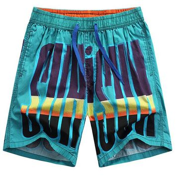 Hawaiian Style Casual Seaside Printing Icy Breathable Loose Beach Shorts for Men