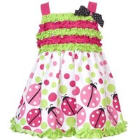 Size-6M RRE-47012S 2-Piece FUCHSIA-PINK GREEN RUFFLE DOTS and LADYBUG BORDER PRINT Spring Summer Party Dress,S647012 Rare Editions Baby/NEWBORN