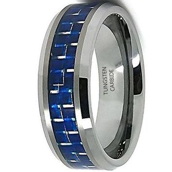 8mm Mirror Polished Tungsten Carbide Wedding Ring Blue and White Carbon Fiber Inlay