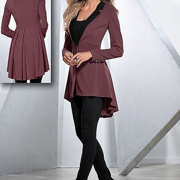 DARK GREY Long ruffle back blazer, cami, jeggings, heel from VENUS