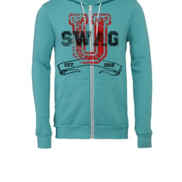 Swag University - Unisex Graphic Design College Font Graffiti Text Style - Unisex Full-Zip Hooded Sweatshirt