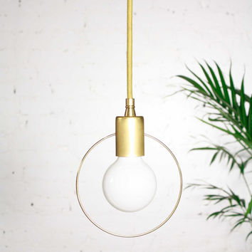Halo - Modern minimalist pendant lamp - Unfinished solid brass