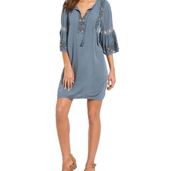 Lucky Brand Tassel Tie-Neck Embroidered Bell Sleeve Dress | Dillards