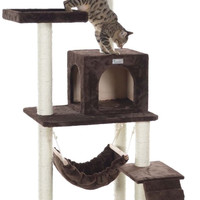 "GleePet 57"" Cat Tree GP78570923 Coffee Brown W Ramp"