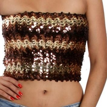 70's Style Sequin Tube Top