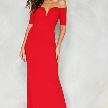 Look Me in the Heart Off-the-Shoulder Dress