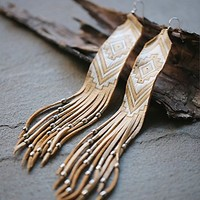 Three Arrows Leather Womens Earth Ceremony Earrings