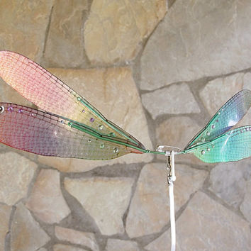 1/6 OOAK DragonFly Wings for dolls  - Crystal Rainbow
