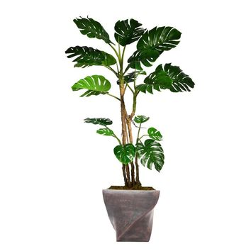 "81.5"" Artificial  Monstera with Burlap Kit in 17.5"" Black/Bronze Fiberstone Planter"