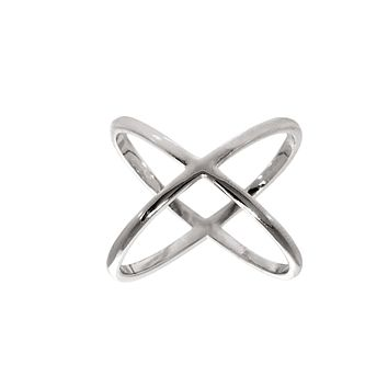 X Cross Ring in 18K White Gold Plated 925 Sterling Silver Unique Casual Rings