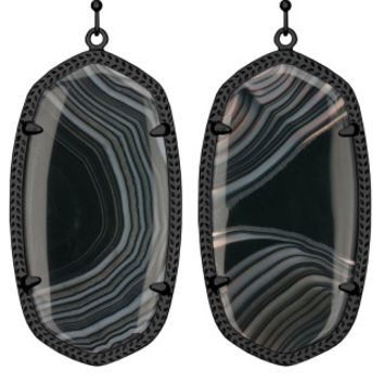 Danielle Earrings in Black Banded Agate - Kendra Scott Jewelry