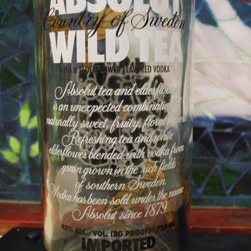 20 Ounce Pure Soy Candle in Reclaimed Absolut Wild Tea Vodka Bottle - Your Choice of Scent