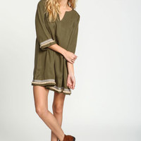 Olive Tassel Embroidered Boho Dress - LoveCulture