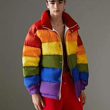 Burberry Winter New Fashion Women Men Rainbow Stripe Brief Paragraph Zipper Cardigan Sweatshirt Jacket Coat