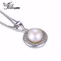 100% Natural Freshwater Pearl Pendant Genuine 925 Sterling Silver Jewelry Classic Women Wedding Fine Jewelry White Pearl Set