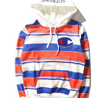 Supreme & Champion Hoodies Hip-hop Stripes Cotton Sweatshirt [9476691911]