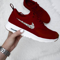 NIKE Air Max Thea Trending Diamond Women Men Shining Sequin B-H-RYXM-SF Burgundy+Silver Hook