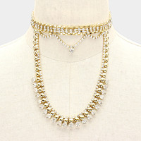 """12"""" gold crystal layered choker collar necklace bridal prom .50"""" wide"""