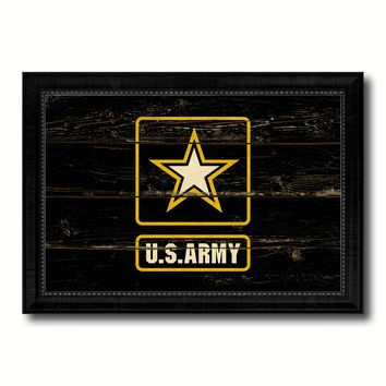 US Army Star Military Flag Vintage Canvas Print with Black Picture Frame Home Decor Wall Art Decoration Gift Ideas