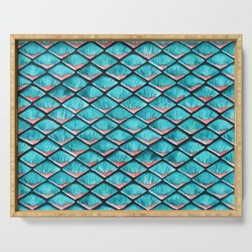 Teal blue and coral pink arapaima mermaid scales Serving Tray by savousepate