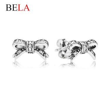 Brand Delicate 925 Silver Plated Sparkling Bow Stud Earrings Fit Pandora Jewelry With