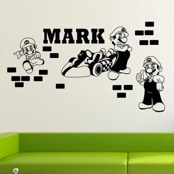 Super Mario party nes switch Kids Personalized Name  Wall Sticker  Kids Boy  Room Decor Art Mural Decals Cartoon Stickers for Nursey Boys KW-164 AT_80_8