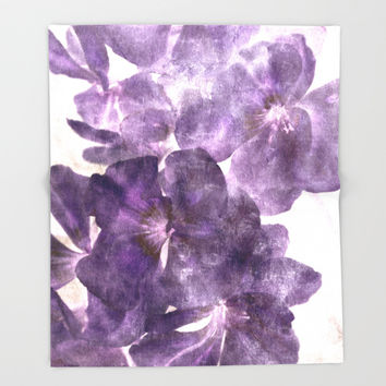 Purple Blossoming Throw Blanket by ARTbyJWP