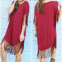 Briarwood Burgundy Stone Wash Shirt Dress With Fringe Hem & Sleeves