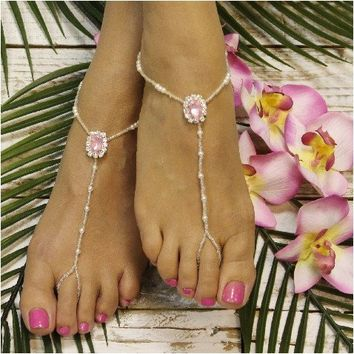 PINK beaded barefoot sandals