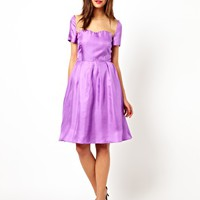 Lowie Silk Prom Dress with Sheer Organza Panel - Purple