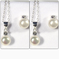 Mother Daughter Jewelry Set; Set of 2; Pearl and CZ Necklace and Earring Set; Bridesmaid Gift; Wedding Jewelry