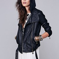 Free People Womens Hooded Biker Leather Jacket