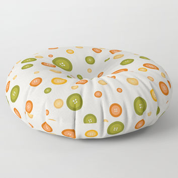 Multicolor buttons pattern. Fruit Floor Pillow by ArtGenerations