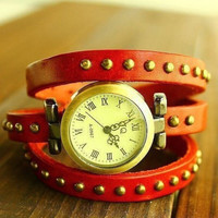 Retro Womens River PU Leather Strap Watch + Gift Box-06