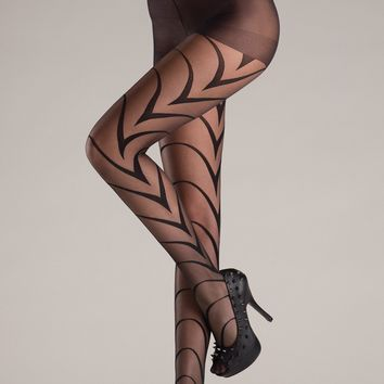 Be Wicked Sheer Décor Black Pantyhose