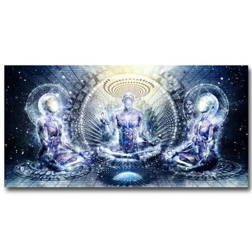NICOLESHENTING Buddha Psychedelic Trippy Art Silk Fabric Poster Print 12x24 16x32 inch Abstract Pictures for Room Wall Decor